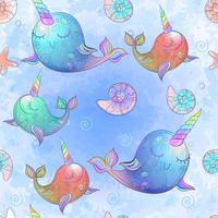 Nahtloses Muster mit netten Einhornwalen im Aquarell vektor