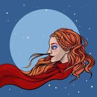 Winterkarte mit einem schönen Mädchen in einem Schal vektor