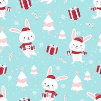 Jul sömlösa mönster med kaninen