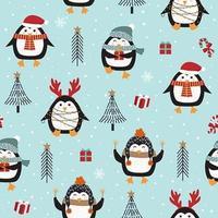 Sömlös julmönster med pingvinen