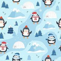 Weihnachtsnahtloses Muster mit Pinguin und Iglus