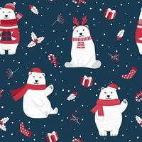 Sömlös julmönster med isbjörn vektor