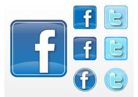 Facebook Twitter vektorer