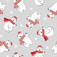 Sömlös julmönster med isbjörn och halsduk
