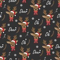 Oh Rotwild-Weihnachtsnahtloses Muster mit Ren vektor