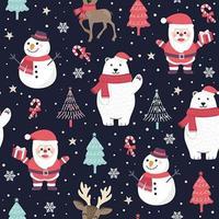 Jul sömlösa mönster med santa och isbjörn