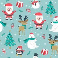 Jul sömlösa mönster med santa och ren vektor