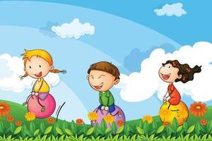 Kinder, die mit den springenden Ballonen spielen vektor