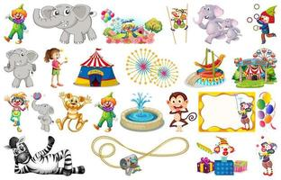 Uppsättning av djur och cirkus