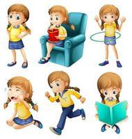 Olika aktiviteter av en ung flicka