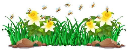 Trädgårdsbild med blommor och bin