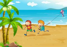 Kinder spielen am Strand mit ihrem Drachen