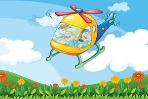 Ein Hubschrauber fliegt mit Kindern vektor