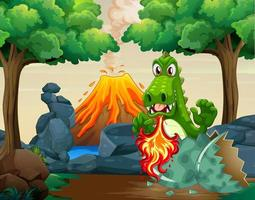 Grönt drake som kläcker ägg i skog