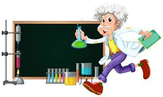 Tafel mit dem Wissenschaftler, der mit Werkzeugen arbeitet