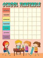 Skolelever med tidtabell för planerare