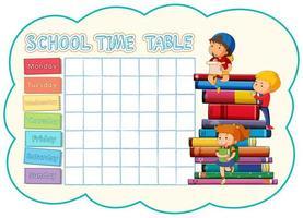 Skolatabellmall med barn på bunt med böcker vektor
