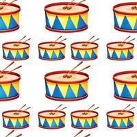 Nahtlose Musterfliesenkarikatur mit Spielzeugtrommel vektor