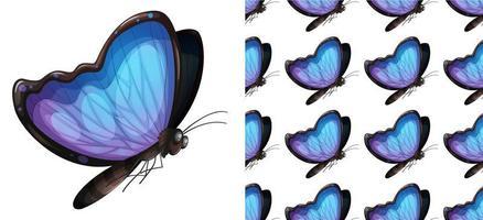 Nahtlose und lokalisierte Schmetterlingsmusterkarikatur vektor
