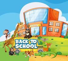 Tillbaka till skolmallen med skola, buss och djur vektor