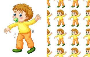 Seamless mönster av pojken med promenader