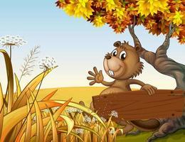 En bäver som spelar under trädet medan du rymmer ett tomt träbräde