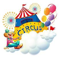 En clown som sitter på ett moln med en cirkusskylt