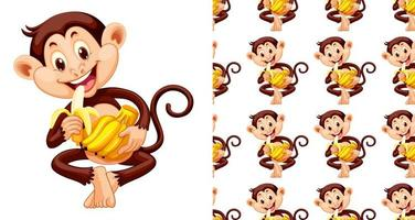 Nahtloser und lokalisierter Affe, der Bananenmusterkarikatur isst vektor