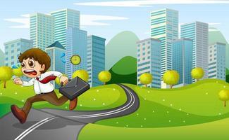 En nervös man springer från staden med en resväska