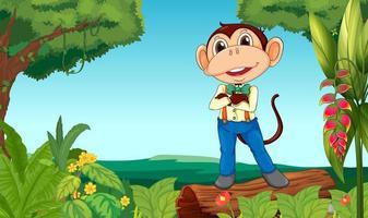 Ein Affe mitten im Dschungel vektor