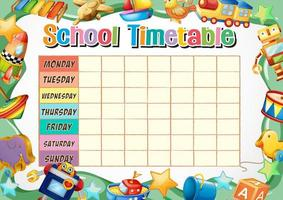 Schulzeitplan Vorlage mit Spielzeug Thema vektor