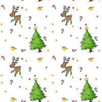 Sömlös julmodell med träd och ren vektor