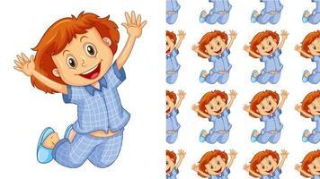 Seamless mönster med hoppande barn i pyjamas vektor