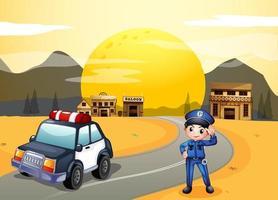 Ein Polizist auf der Straße vektor