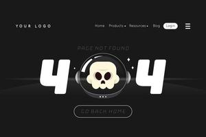 Fehler 404 Landing Page with Skull