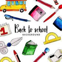 Akvarell tillbaka till skolan bakgrund