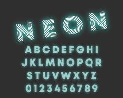 Cirkulär linje alfabetet teckensnitt. Bokstäver och siffror neon design vektor