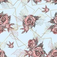 Seamless mönster med buketter av akvarell blommor.
