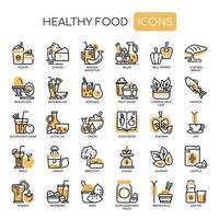 Hälsosam mat tunn linje svartvita ikoner vektor