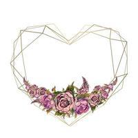 Ramen är hjärtat i akvarellblommor. Valentine, bröllopsinbjudan.