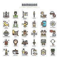 Ramadan element tunn linje färg ikoner
