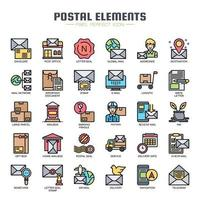 Postal Elements dünne Linie Farbsymbole vektor