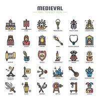 Mittelalterliche Elemente dünne Linie und Pixel perfekte Symbole vektor