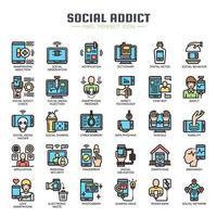 Sociala media beroende tunn linje färg ikoner vektor