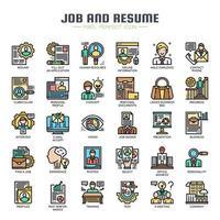 Dünne Linien-Farbsymbole für Job und Lebenslauf