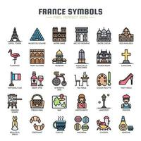 Frankreich Symbole dünne Linie Icons vektor