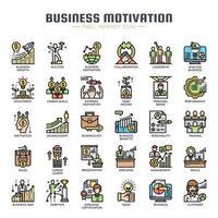 Geschäfts-Motivations-dünne Linie Farbikonen