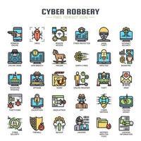Cyber-rån tunn linje färgikoner