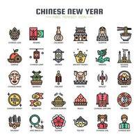 Tunn linje ikoner för kinesiska nyår