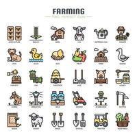 Jordbruk tunn linje ikoner vektor